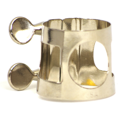 Bari Sax Ligature Nickel Plated.