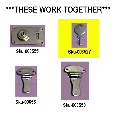 Key For Chrome Case Lock Flush Mount.