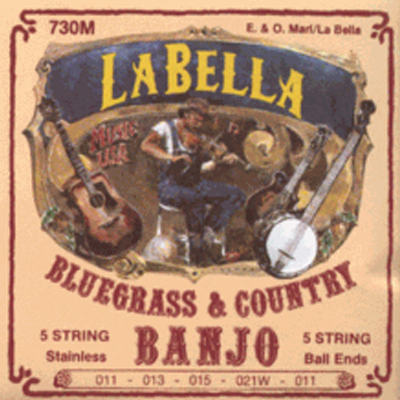 La Bella Medium Silver Plated 5 String Banjo Strings.