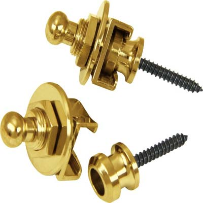 Schaller Guitar Strap Locks and Buttons Gold (Pair).