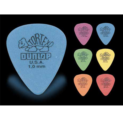 Dunlop Tortex Standard guitar picks.