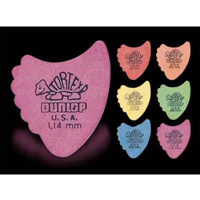 Dunlop Tortex Fin guitar picks.