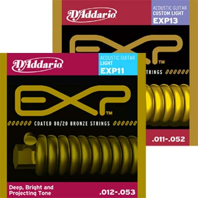 D'Addario EXP Coated 80/20 Bronze Acoustic Strings.