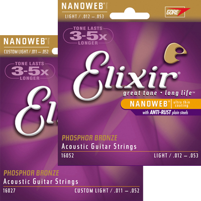 Elixir Nanoweb Coated Phosphor Bronze Acoustic Strings.